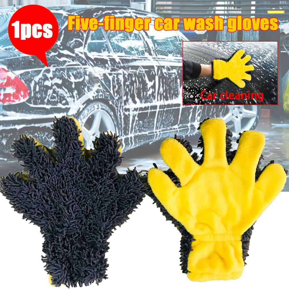 5-Finger Soft Car Washing Gloves Cleaning Brush For Car And Motorbike Washing Drying Towels Car Styling