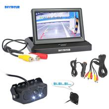 DIYSECUR Kit de caméras de recul de voiture 5 pouces, moniteur Radar de stationnement, capteur 2 en 1, système de stationnement