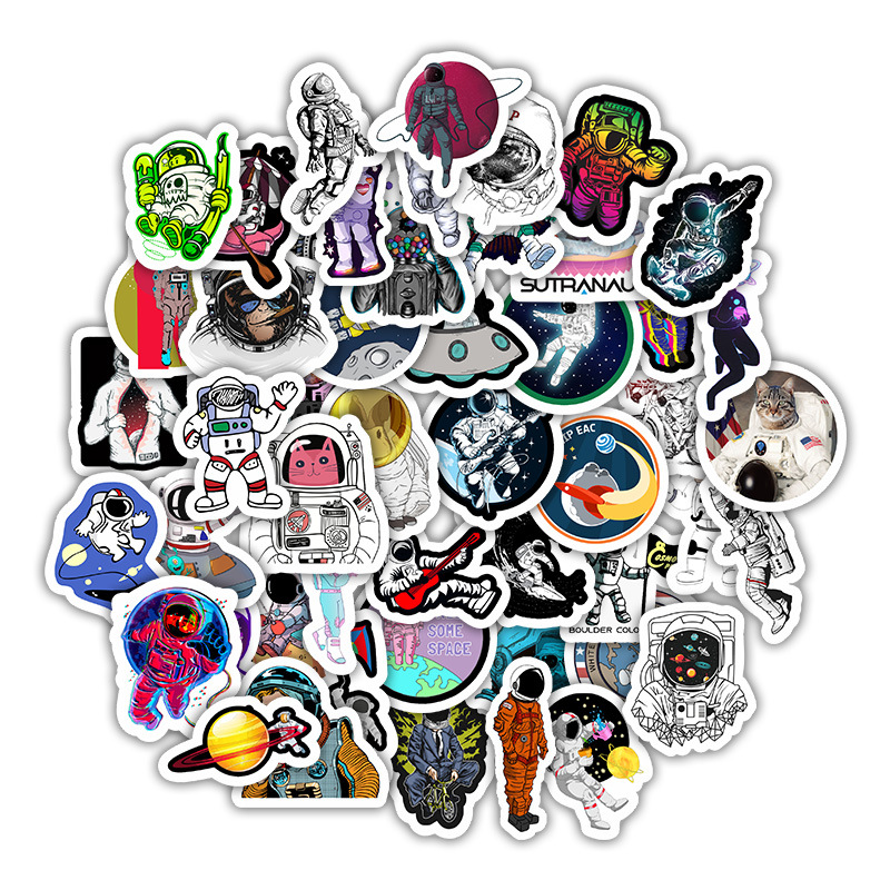 50 Stickers For Decoration Stationery Of NASA Astronauts' Suitcases, Mobile Phones, Laptops, Skateboards, Children