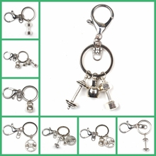New Keychain Charm Fitness Key Chain Mini Dumbbell Discus Barbell Keyring Fashion Designer Gift Coach Souvenir Friends