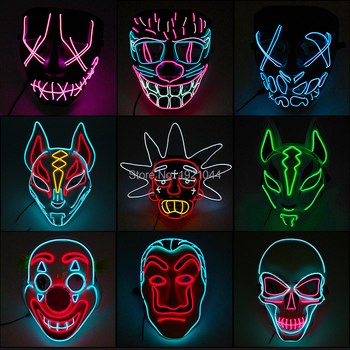 New Designed Led Glowing Mask Halloween Party Masque Masks Neon Light Maske Glow In the Dark Glowing Purge Horror Maska 2020 hot sales fashion led mask luminous glowing halloween party mask neon el mask halloween cosplay mask mascara horror maska