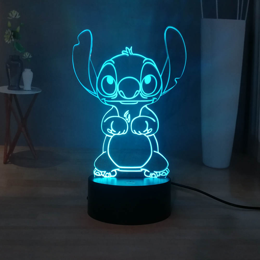 Cute Stitch LED Night Light Cartoon Acrylic RGB Multicolor USB 3D Illusion Bedside Sleep Night Lamp Best Gift Free Shipping