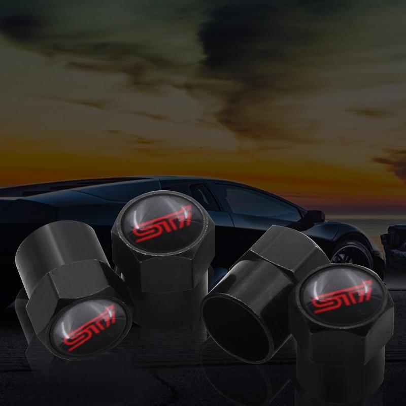 4 Pieces Black Car Wheel Tire Valve Cap Cover Air Cap Case For SUBARU Heritage Forester Outback Impreza STI Car Styling Accessor