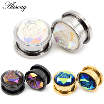 Alisouy 2pcs Stainless Steel Inlay Crystal Bud Ear Tunnels Plugs Flesh Screw Expanders Stretched Earrings Body Piercing Jewelry 1