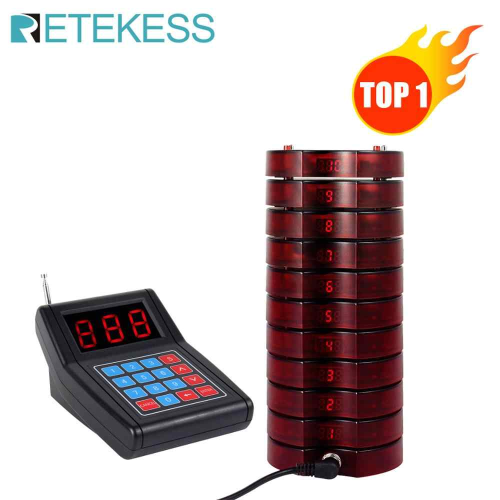 RETEKESS SU-668 999 Channel Restaurant Pager Wireless Paging Queuing Calling System 10 Coaster Pagers Restaurant pager for cafe