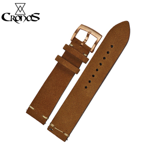 Image 2 - Cronos Watch Parts Genuine Leather Strap for Watch Flat Ends 20mm Stainless Steel Bronze Tongue Buckle Quick Release Spring Bars