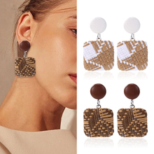 Bohemian Wooden Rattan Knit Drop Earrings For Women Fashion Statement Straw Weave Square Dangle Earring Ladies Jewelry Wholesale