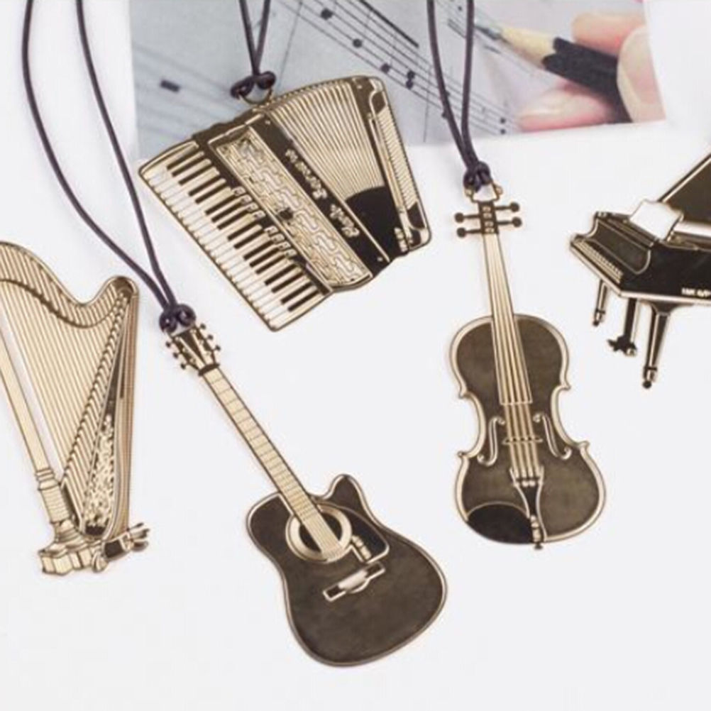 Cute Kawaii Golden Metal Music Bookmarks Piano Guitar Trumpet Designs Book Marks Korean Stationery Gifts   822