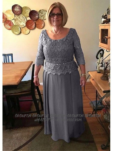 Gray Plus Size Mother Of The Bride/Groom Dresses For Wedding Party Gowns Chiffon Lace 3/4 Sleeves Scoop Women Farsali Plus Size