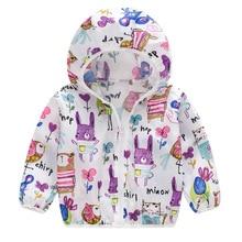 цена на Kids Unisex Sun Protection Clothing Coat With Hooded Zipper Cute Cartoon Print UV Protection Quick Dry Thin Jacket  2-7years
