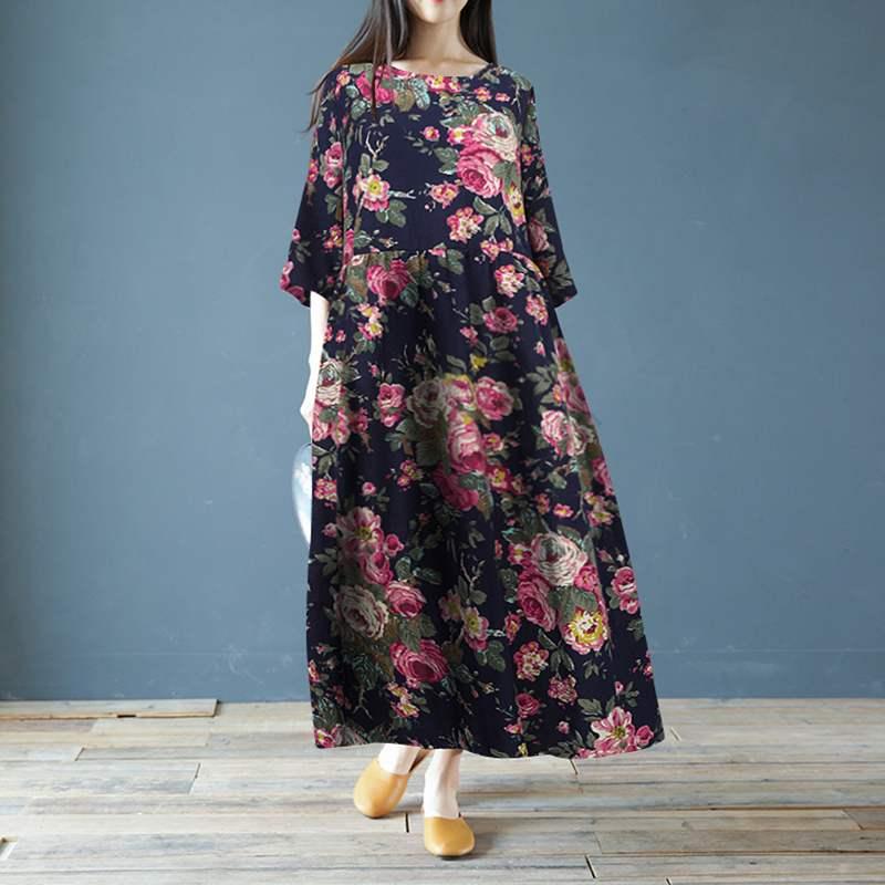 ZANZEA Women 3/4 Sleeve Cotton Linen Long Dress Summer Vintage Floral Printed Sundress Plus Size Kaftan Vestido Retro Dresses