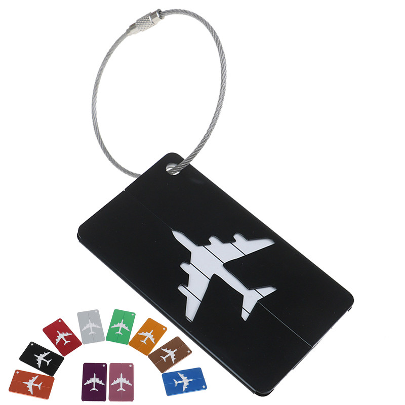 7PCS/lot Aluminium Alloy Luggage Tags Baggage Name Tags Suitcase Address Label Holder Travel Accessories