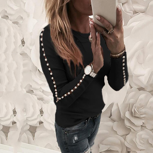 Elegant Pearl Nail Bead Long Sleeve Pink Knit Sweaters Women Invierno 2020 O Neck Hollow out Pullovers Black Grey Ladies Tops 4