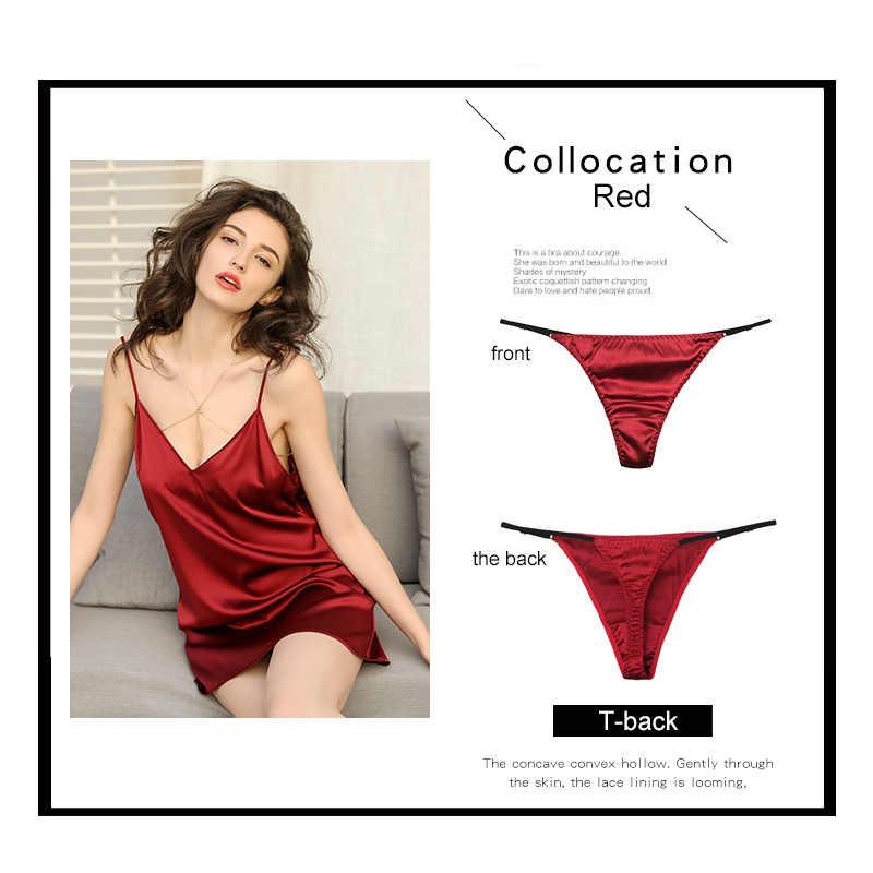 """Seksowne majtki dla kobiet """"jedwabne stringi dziewczyna niskiej talii ciąg bielizna czerwone stringi majtki seks g ciąg satynowe majtki damskie bielizna"""