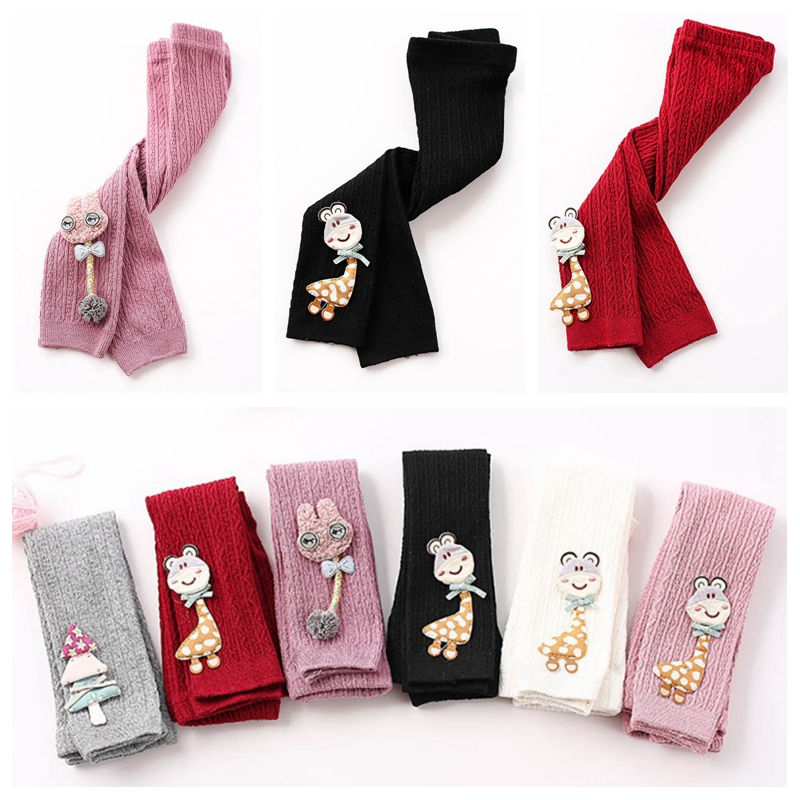 Cute Stretchy Warm Toddler Baby Girls Leggings Soft Cartoon Kids Pants Leggings Children Trousers Bottoms