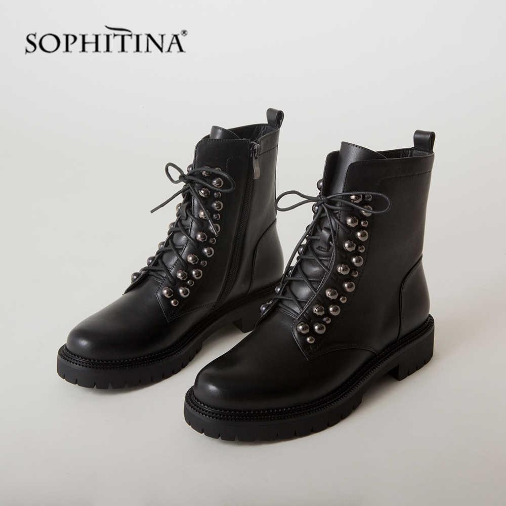 SOPHITINA özel tasarım botları yüksek kalite hakiki deri rahat dantel-up yuvarlak ayak ayakkabı kadın yeni yarım çizmeler PC492