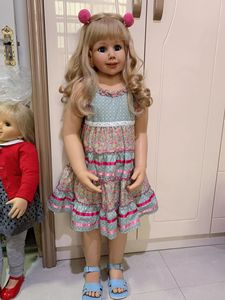 Image 1 - 100CM Hard vinyl toddler princess blonde girl doll toy like real 3 year old size child clothing photo model dress up doll