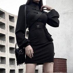 Rosetic короткое Бандажное платье для женщин готический панк пояс с длинным рукавом Уличная черная мини Vestidos Повседневные платья весна 2020