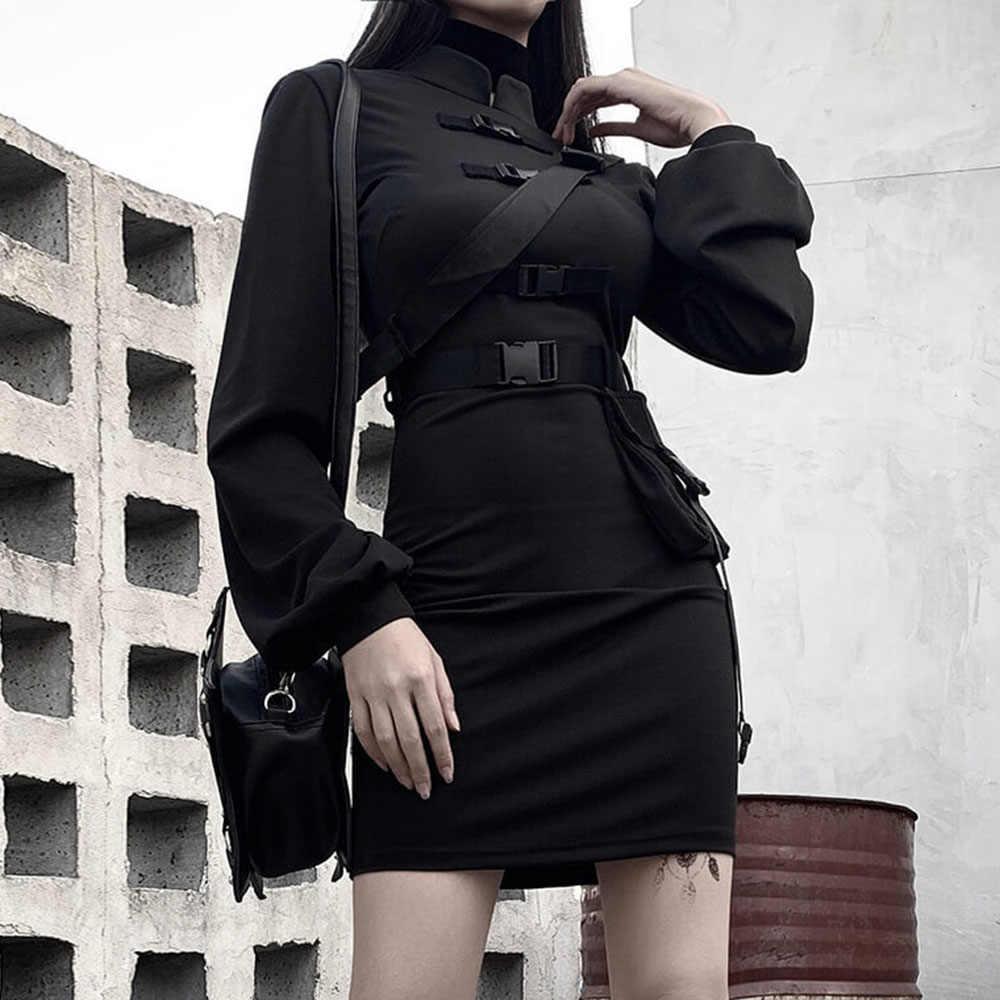 Rosetic Korte Bandage Goth Jurk Vrouwen Gothic Punk Riem Lange Mouwen Streetwear Zwart Mini Vestidos Casual Jurken Voorjaar 2020