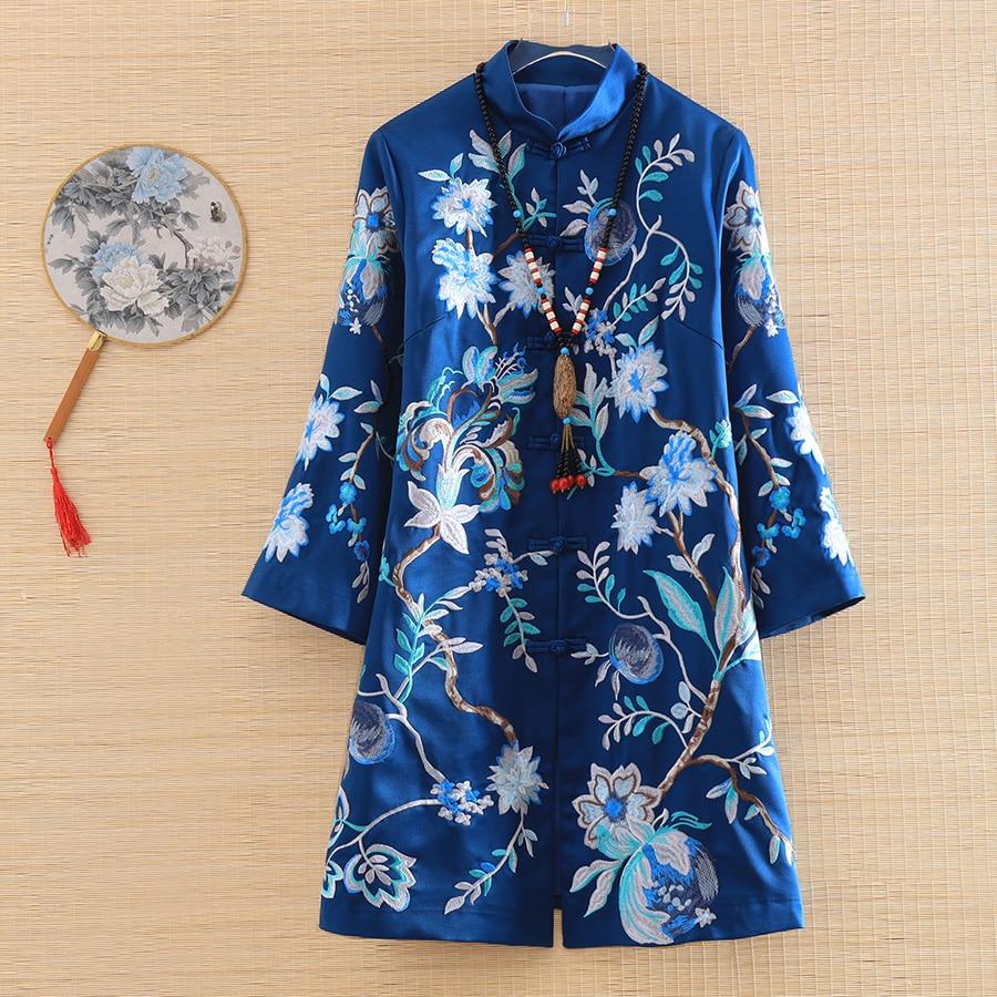 Elegant Lady Outerwear Autumn Indie Folk Twill Satin Embroidery Retro Women's Vintage Plus Size Trench Coat Female S-XXXL