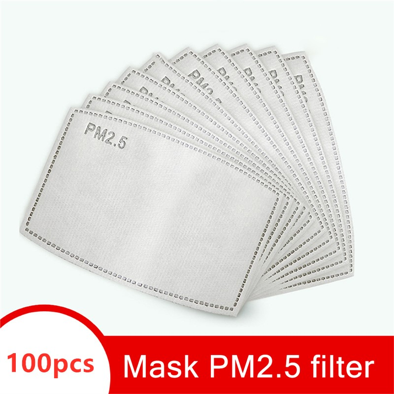 100pcs PM 2.5 Mask Filter Anti Haze 5 Layers  Mask Activated Carbon Filter Replaceable For Adults And Kids Mouth Mask Cover
