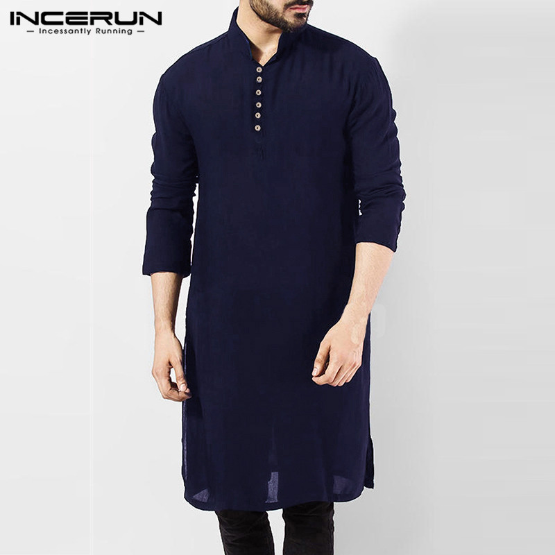 INCERUN Men Casual Shirt Cotton Long Sleeve Stand Collar Vintage Solid Stitched Long Tops Indian Clothes Pakistani Shirt S-5XL