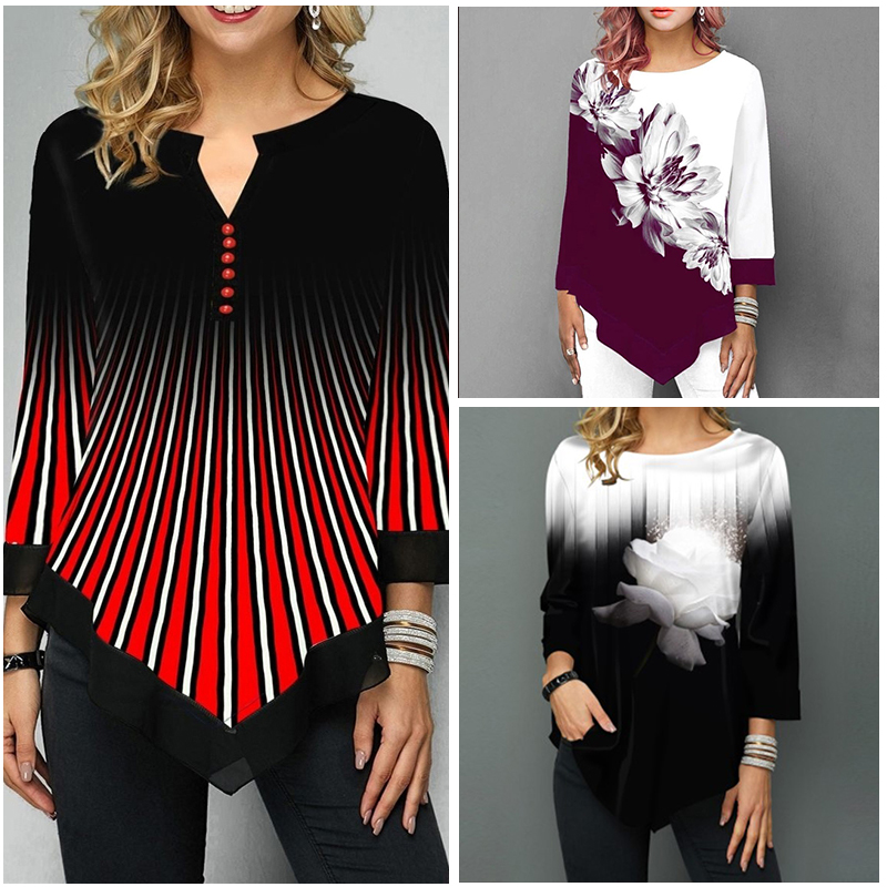 2020 Spring New Women Irregular Shirt Long Sleeve Casual Print 3D Tee Shirts V Neck Long Sleeve Blouses Female Clothes Plus Size