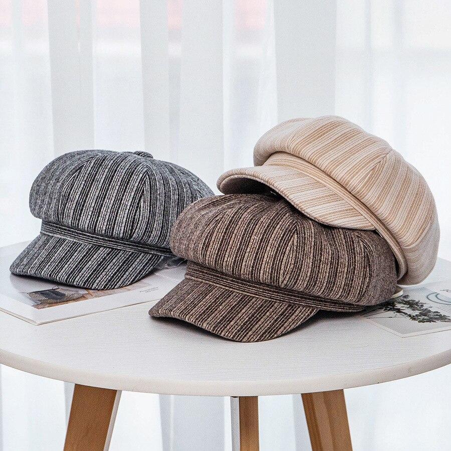 USPOP 2019 New octagonal hats women autumn winter caps vintage striped cap berets