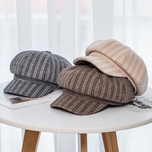 USPOP 2019 New octagonal hats women autumn winter caps vintage striped cap berets
