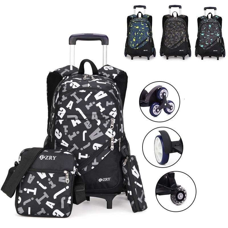 Sacs à dos d'école de roulement d'enfants de mode 2/6/grandes roues sacs d'école de chariot à roues détachables sac à dos d'enfants