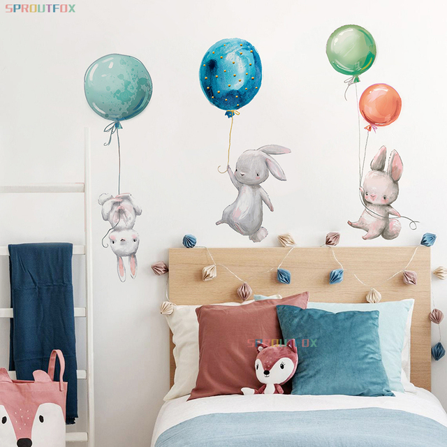 Animal Cartoon Wall Stickers For Kids Rooms Balloon Bunny Decorative 3D Wall Stickers For Children Rooms Large Kids Wall Decals 2