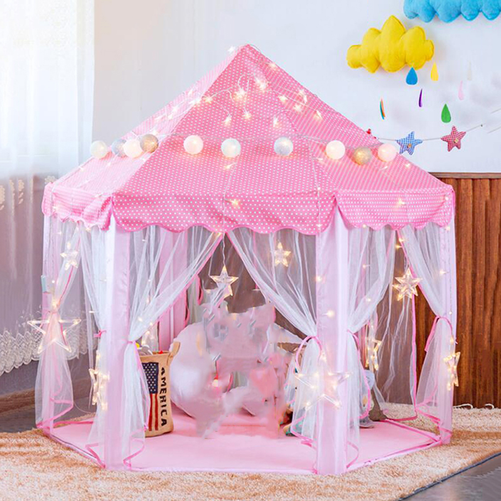 Portable Children's Tent Toy Princess Castle Play Tent  Baby Kids Boy Girl Activity Fairy House Playhouse Outdoor Indoor Tents