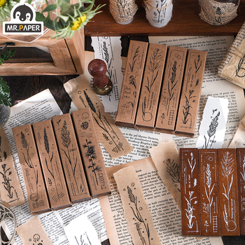 Mr Paper 8 Designs Plant Styles Wooden Rubber Stamp for Scrapbooking Deco DIY Craft Standard Wooden Stamps Ink Journal S