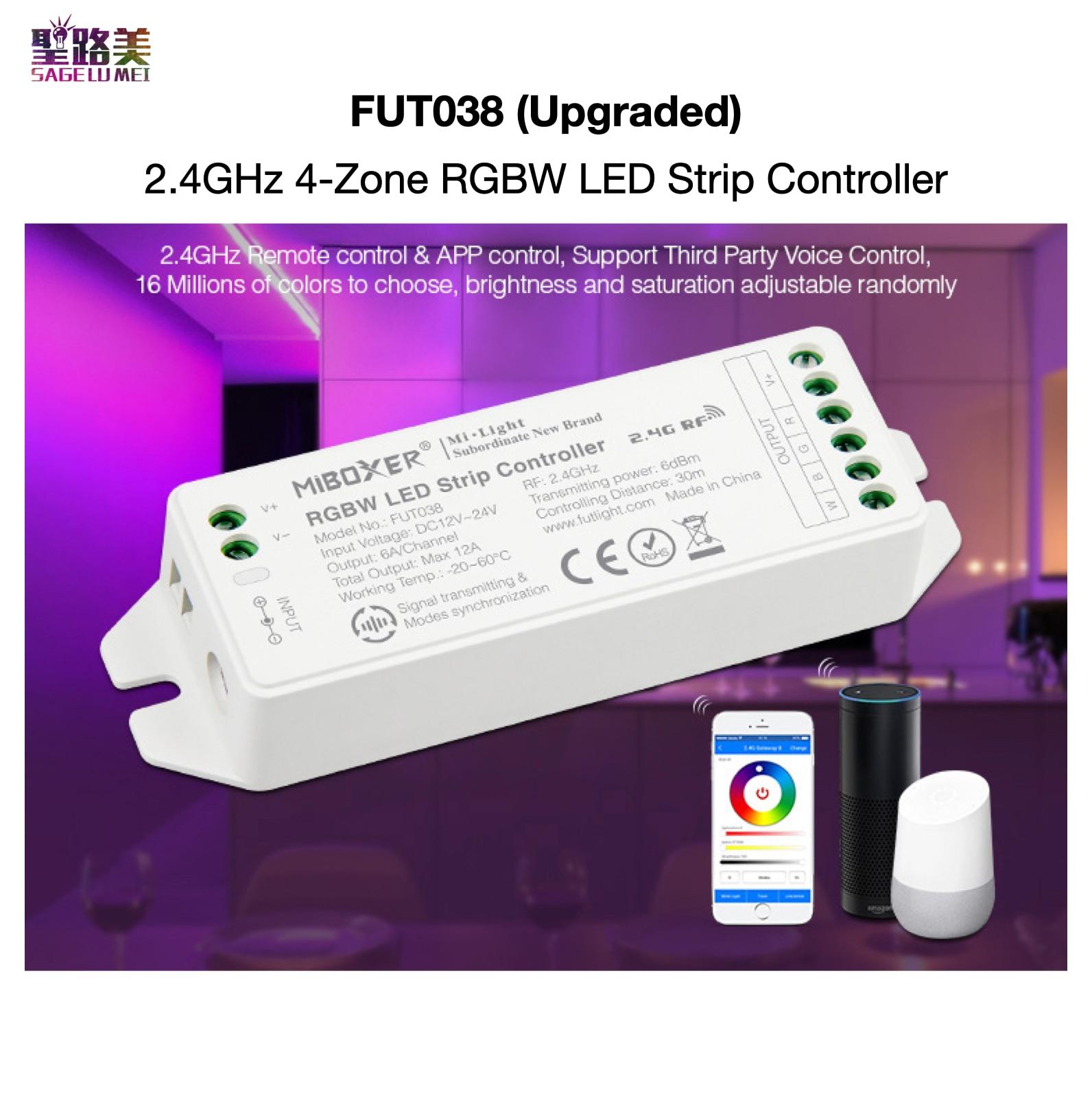 FUT038 (Upgraded) 2.4GHz RGBW LED Strip Controller DC12V~24V Smartphone APP / RF / Third Party Voice Control MiBOXER Mi-Light