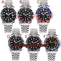 40mm parnis safira gmt automatic machinery movimento relógios masculinos luminosos azul & vermelho moldura|Relógios mecânicos| |  -