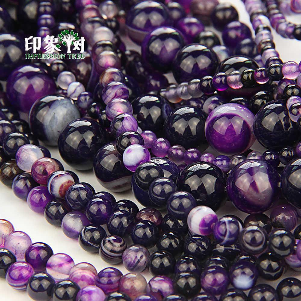 1 Uds 4/6/8/10/12mm Pick tamaño púrpura raya gema de ágata cuenta suelta piedra Sardonyx ágata drusa cuentas para bricolaje de joyería hacer 2042