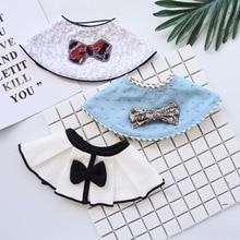 INS Japanese style 360-degree bib saliva towel cartoon cute bib red bow detachable decorative bib fake collar