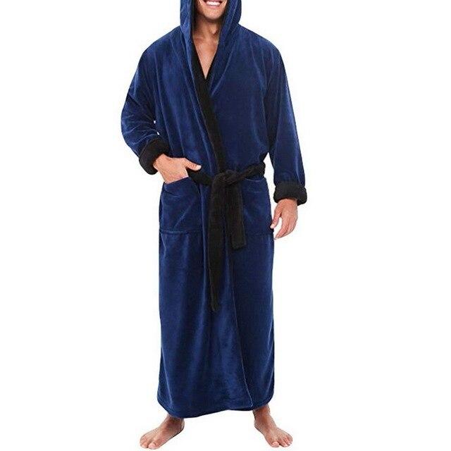 Mens Hooded Flannel Bathrobe 3