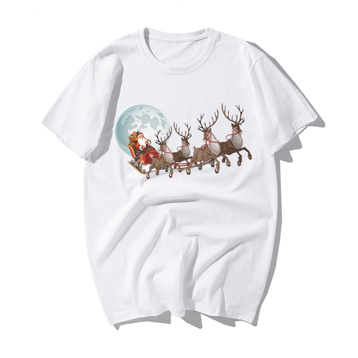 Funny Santa Claus Reindeer Lover CHRISTMAS GIFT T-SHIRT Happy New Year T Shirt Man Tshirt Merry CHRISTMAS Casual Cotton Kawaii 1