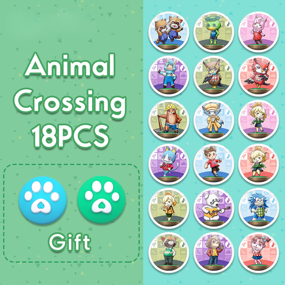 18PCS Animal Crossing Amiibo NFC NTAG215 Card Support Switch / Lite, Wii U And 3DS Animal Crossing Serie Latest Data Full Set