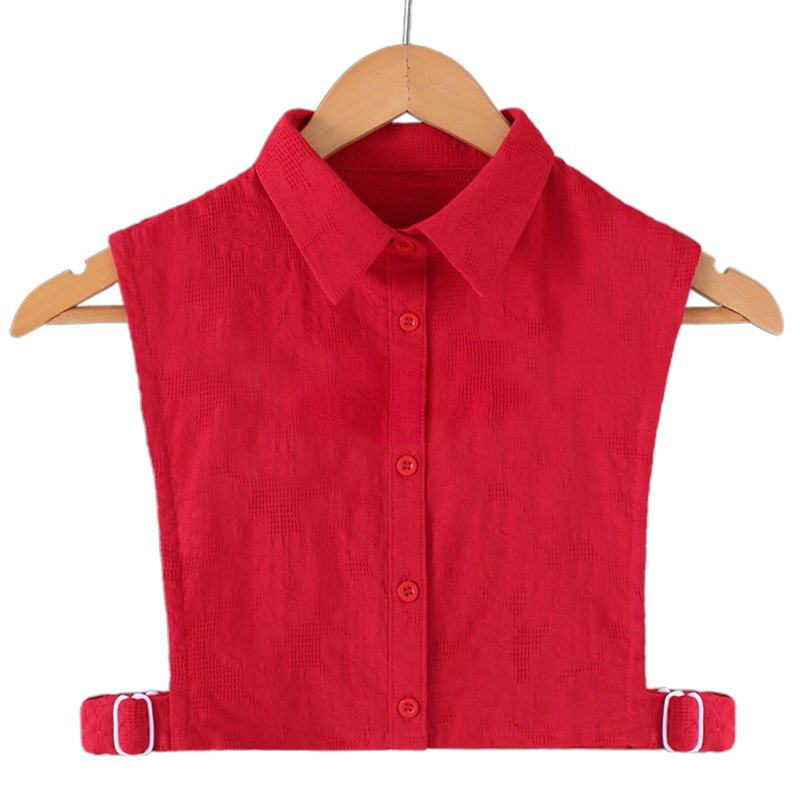 Womens Crochet Floral Lace Red Fake Collar Solid Color Button Down Adjustable Detchable Lapel Ruffles Half-Shirt Blouse