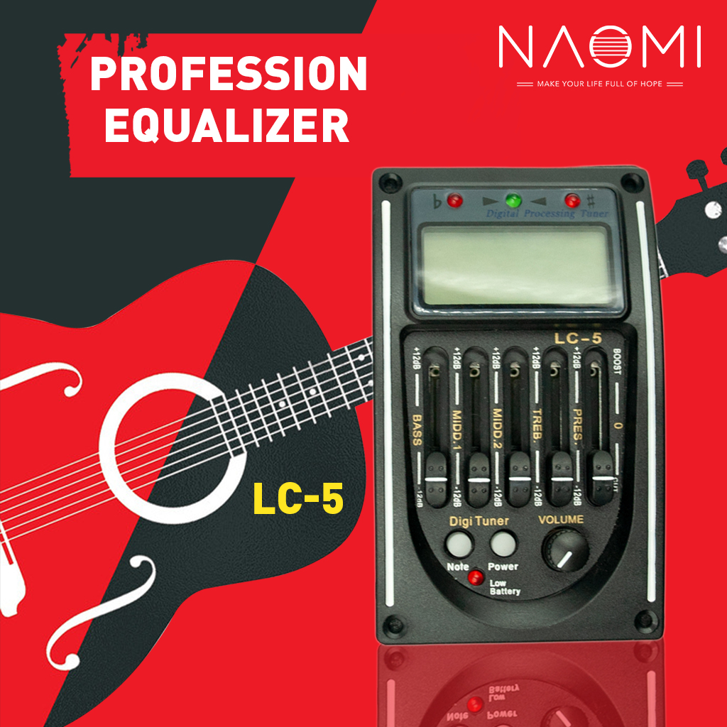 NAOMI Guitar Pickup LC-5 5 Bands EQ Equalizer Acoustic Guitar Preamp EQ Equalizer Tuner Piezo Ceramic Pick-up Лобовое стекло