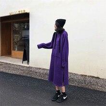SZMALL POP EU Purple Dress Women Winter Autumn Long Sleeve Streetwear Dresses Female Hooded Loose Clothing For Lady