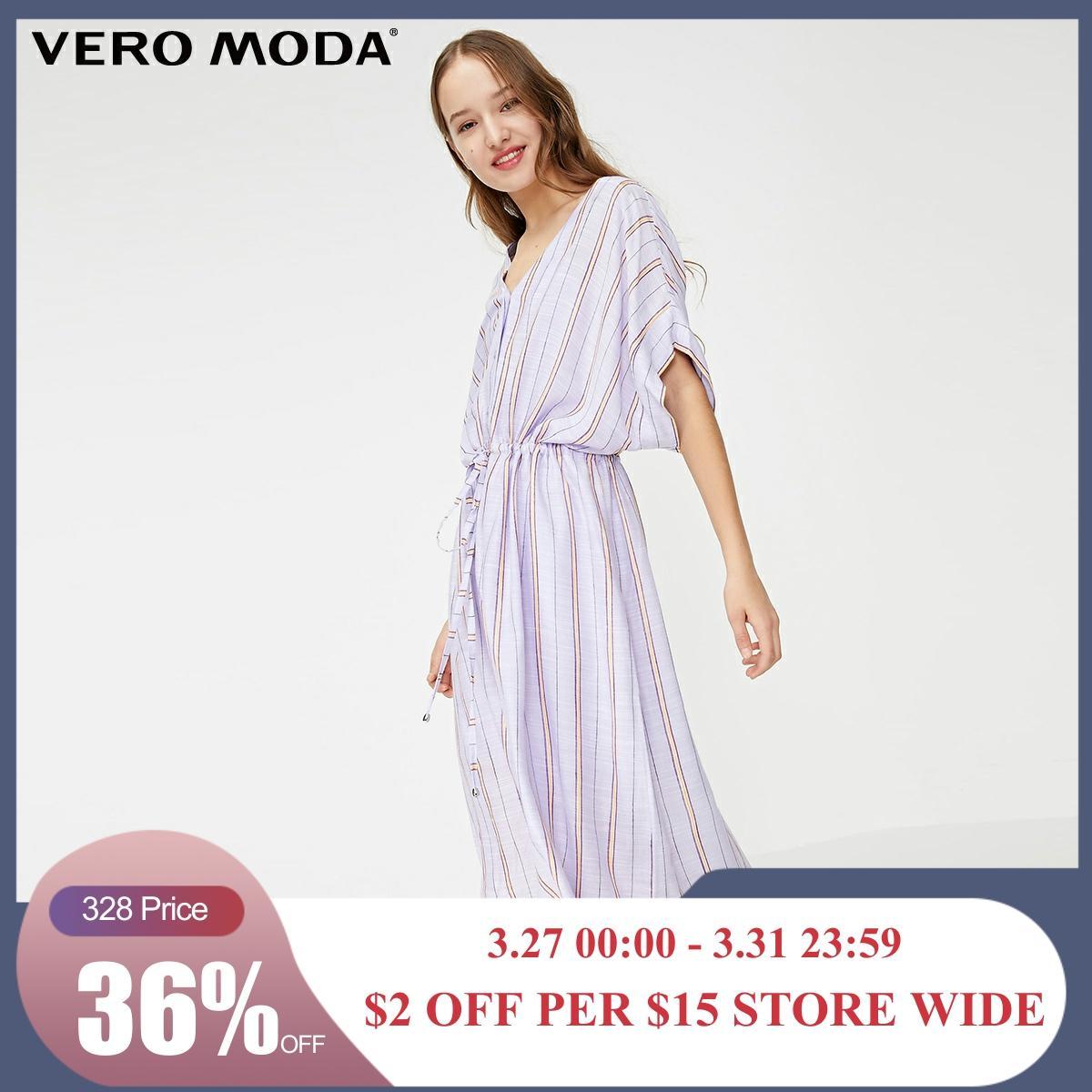Vero Moda Women's Loose Fit Striped V-neckline Dress | 31927B505