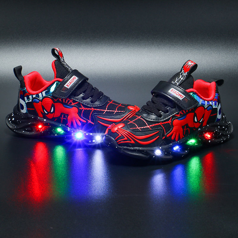 2020 Spiderman Led Shoes Kids Shoes Boys Children Shoes For Boys Light Up Luminous Sneakers Glowing Illuminated Lighted Lighting