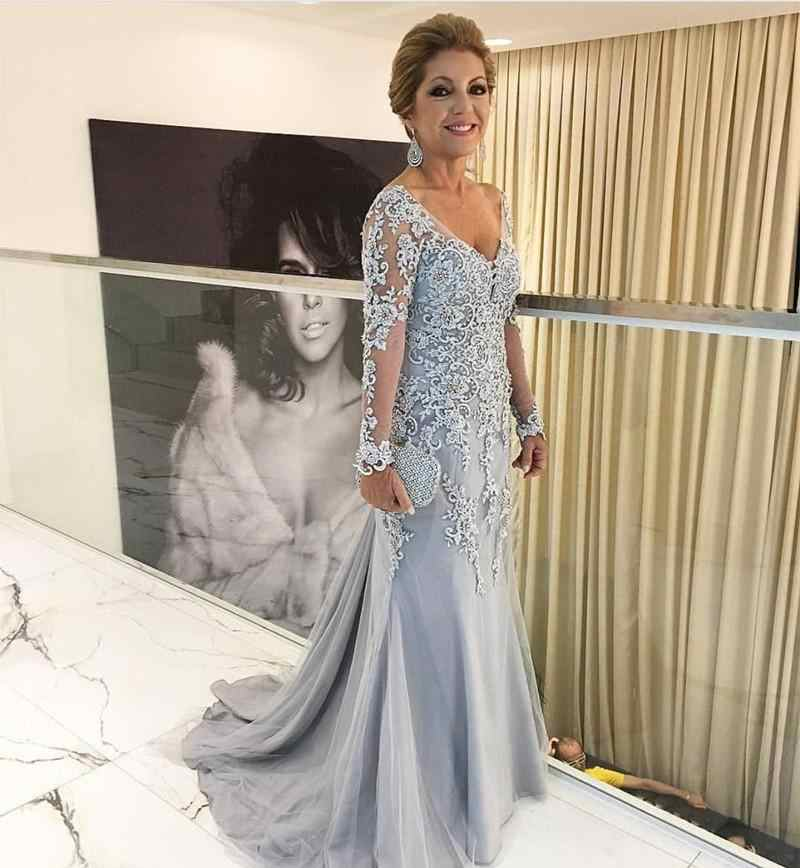 Silver Mother Of The Bride Dresses Mermaid Long Sleeves Tulle Appliques Beaded Long Groom Mother Dresses For Weddings