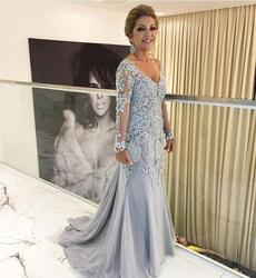 Silver 2019 Mother Of The Bride Dresses Mermaid Long Sleeves Tulle Appliques Beaded Long Groom Mother Dresses For Weddings
