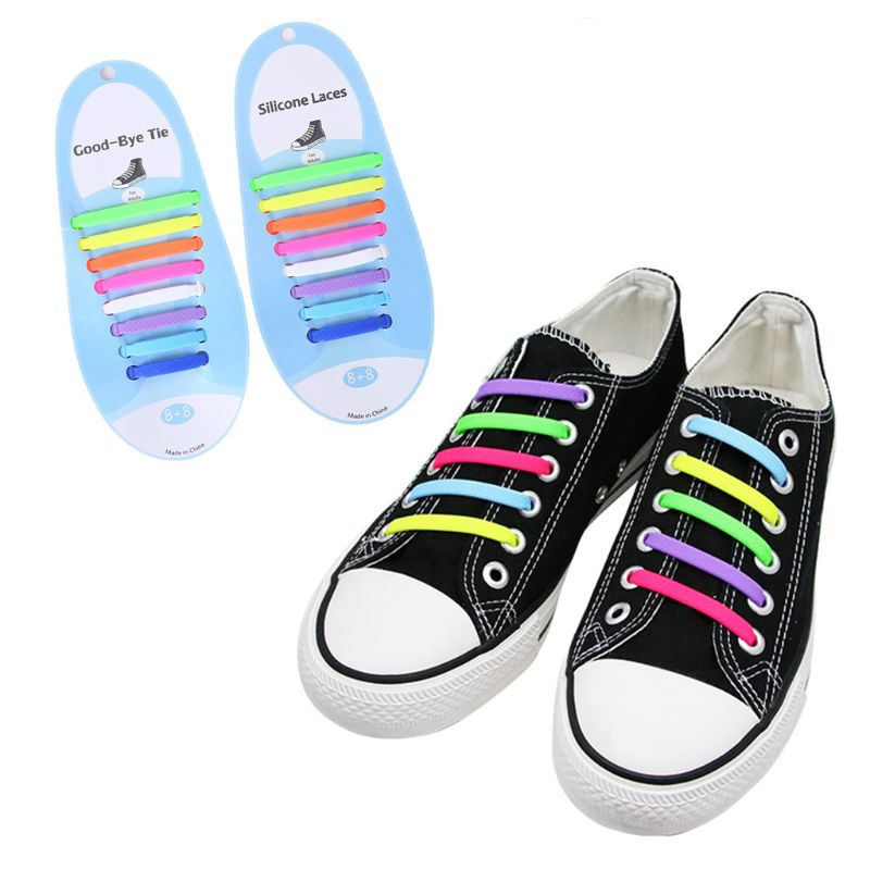 The Elastic Tie-Free and Wash-Free Silicone Shoelaces Colorful Black and White