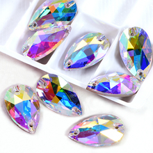 AAAAA Quality Teardrop Glass Strass Sew On Rhinestones Droplet Glitter Rhinestones стразы sew on crystal Rhinestones B3861