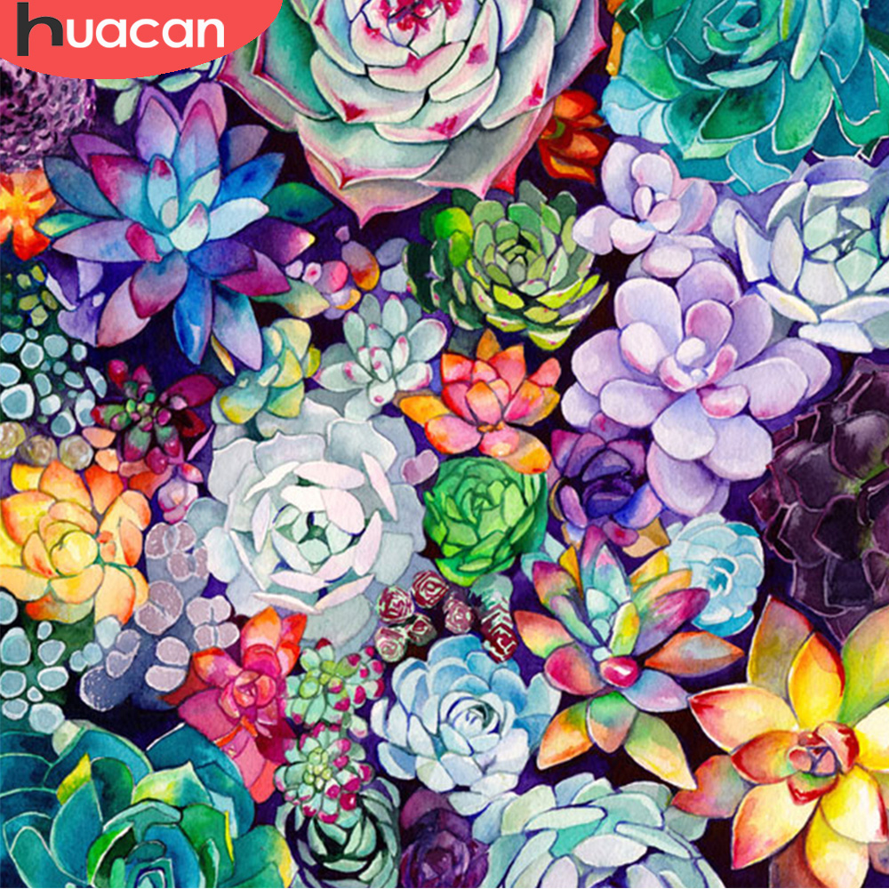 HUACAN 5D DIY Diamond Embroidery Succulent Plant Full Square Diamond Painting Flowers Handmade Home Decoration